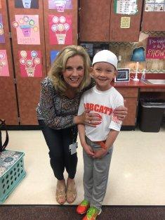 Krew with his teacher, Mrs. Edwards